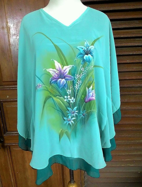 Baju Lukis Handmade Bunga Lily