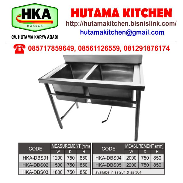 HUTAMA KITCHEN MENJUAL BOWL SINK 2 BOWL STAINLESS STEEL MURAH