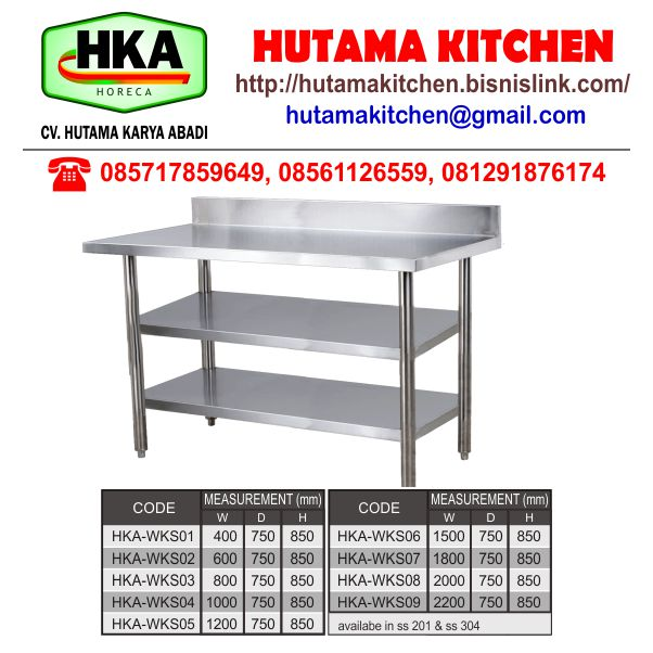 HUTAMA KITCHEN JUAL MEJA KERJA STAINLESS STEEL WORKING TABLE with DOUBLE UNDER SHELF