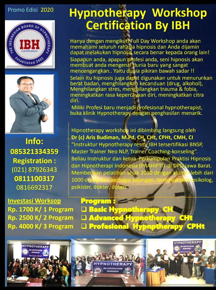 Pelatihan Hipnosis, Pelatihan Hypnotherapy, CH, CHt, IBHcenter, PRAHIPTI, PKHI, Adi W Gunawan, Aris Budiman